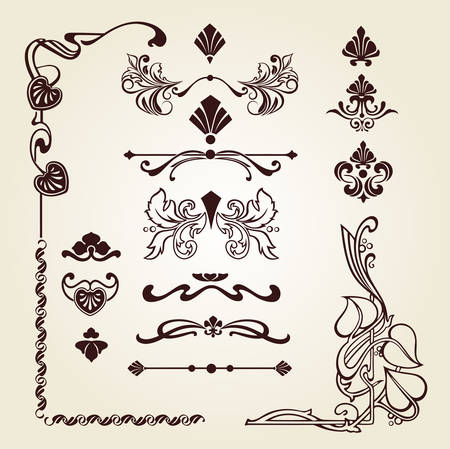 ribbon and mixed border corners set Illustration