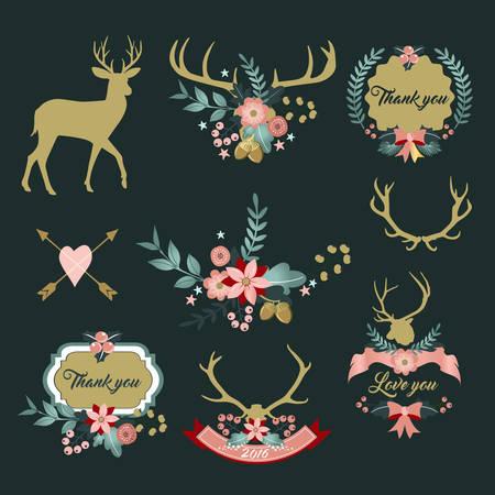Deer antlers with flowers