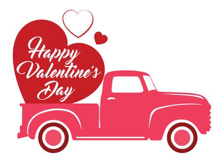 Valentine's Day Heart on a Old Truck - Old Pickup with Heart Ilustração