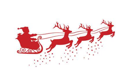 Silhouette of Santa Claus fliyng with reindeer sleigh
