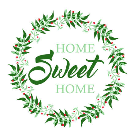 Home Sweet Home decorative inscription with wreath printable or cut out lettering in a flat