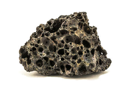 black pumice rock have alot of hole in it photo