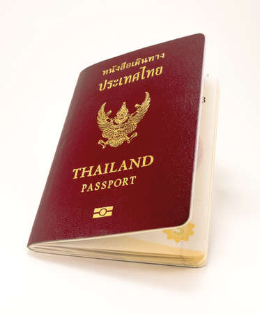 thai people:  legal passport book for Thai people with white back ground Stock Photo