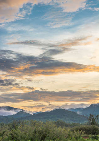the big mountain  and blue sky with sunset photo