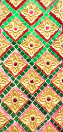 thai temple wall flower back ground image photo