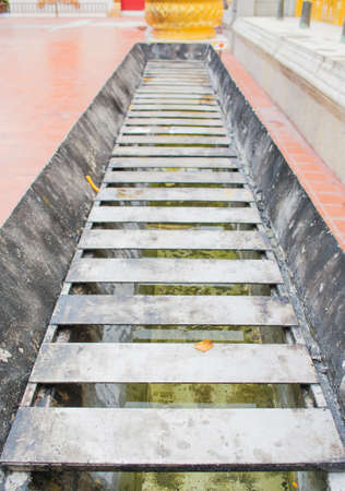 empty steel caldle tray in thai temple photo