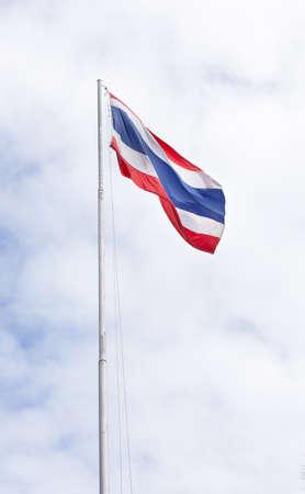 tall Thailand nation flagstaff with blue sky photo