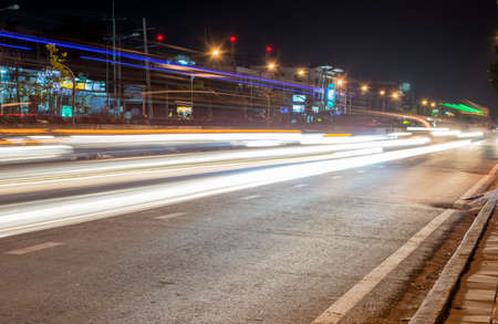 the light trails on the street in Thailand photo