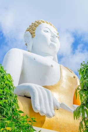 Gold buddha statue in thai temple, Thailand . photo