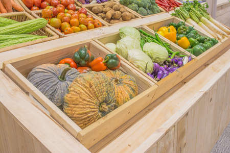 agriculture harvested products on wooden box . photo