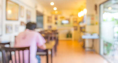 image of Coffee shop blur background with bokeh. photo