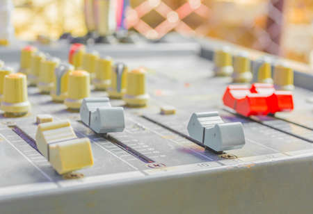 image of old sound mixer panel . photo
