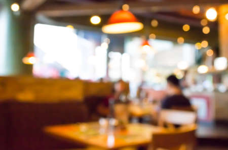 defocused: Coffee shop blur background with bokeh image . Stock Photo