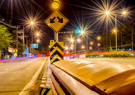 Long exposure traffic scene of Thailand . photo