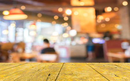 Coffee shop blur background with bokeh image . Stok Fotoğraf