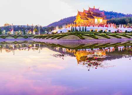 Ho kham luang northern thai style building in Royal Flora temple (ratchaphreuk)in Chiang Mai,Thailand. photo