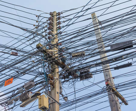 image of busy line on electric pole . photo