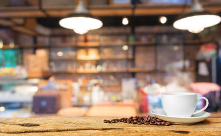 Coffee shop blur background with bokeh image.