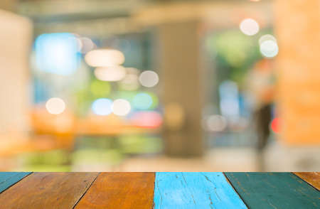Coffee shop blur background with bokeh image . 写真素材