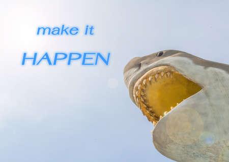 sky metaphor: metaphor of make it happen with great white shark in the sky.