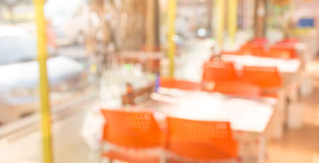 Coffee shop blur background with bokeh image . photo