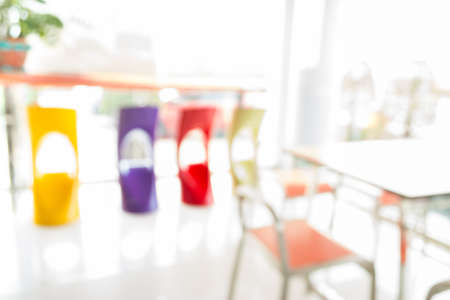 Coffee shop blur background with bokeh image. photo