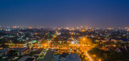 panorama city panorama: long exposure shot image of Chiang Mai the old city  view from high angle spot .