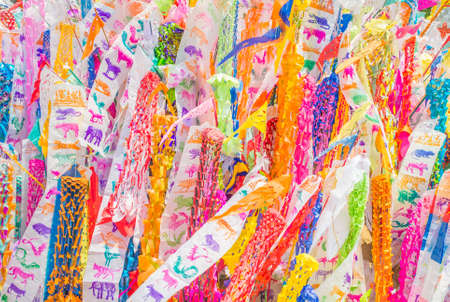 colorful flag in the temple during the Songkran festival,Chinag Mai Thailand. photo