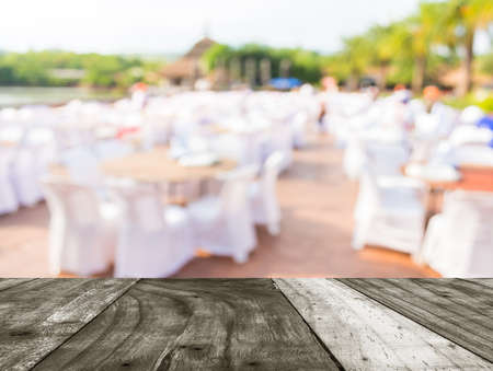 Blur Image Of Tables And Decoration Prepared For An Outdoor Party For  Background Usage. Photo