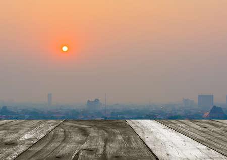 hazy: Hazy skyline of Chiang Mai City ,Thailand smog covering buildings with sunrise .