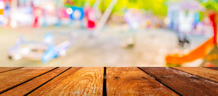 Defocused and blur image of children's playground at public park for background usage . 写真素材