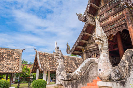 ton: Wat Ton Kain, Old temple made from wood  in Chiang Mai Thailand. Stock Photo