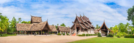 ton: panorama shot of Wat Ton Kain, Old temple made from wood  in Chiang Mai Thailand. Stock Photo