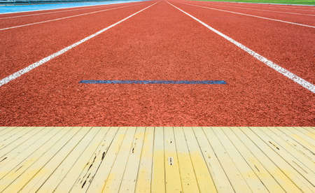 athletics track: Athletics Track Lane made with orange rubber Stock Photo
