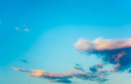 usage: image of clear blue sky and white clouds on day time for background usage. Stock Photo