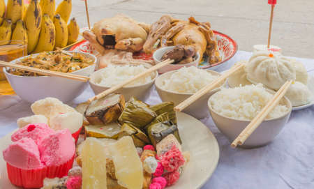 Prayer Table: Image Of A Table Feast And Food For Chinese New Year Festival.
