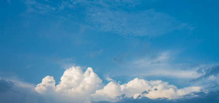 usage: image of blue sky and white clouds on day time for background usage.
