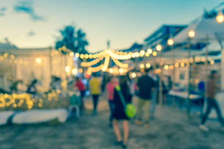 blur image of night festival on street blurred background with bokeh . Stock Photo