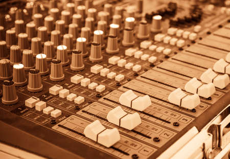 vintage tone image of modern sound mixer panel .