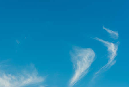 nimbi: image of clear blue sky and white clouds on day time for background usage. Stock Photo