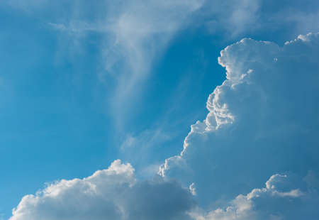 image of blue sky and white cloud on day time for background usage. Stock Photo