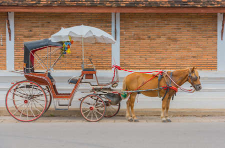 The carriage designed for private passenger at Lampang province ,Thailand . 版權商用圖片