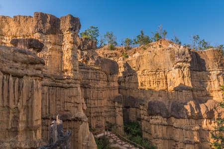 High soil canyon cliffs at Pha Chor at Mae Wang National parks in Chiang Mai,Thailand.