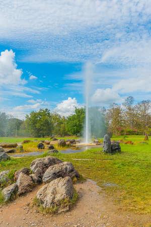 groundwater: hot spring fountain at Sankampaeng hot springs at San Kampang district, Chiang Mai , Thailand
