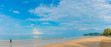 minimalist style panorama image of people at the sea on day time for background usage.