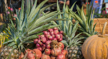 image of coconut onion and pineapple for background usage. Stock Photo