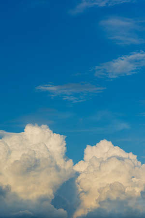 image of blue sky and white clouds on day time for background usage.(vertical) Stock Photo