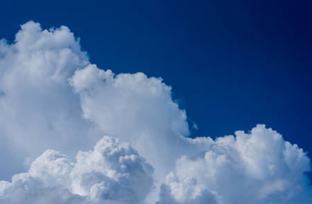 image of blue sky and white clouds on day time for background usage.(horizontal) Stock Photo