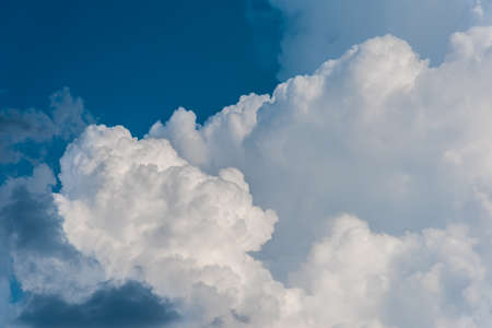 image of blue sky and white clouds on day time for background usage.