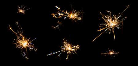 light from gunpowder sparking after burn Stock Photo